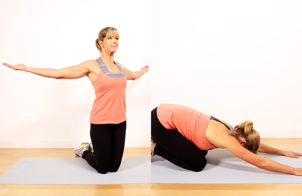 Chest stretch and child's pose